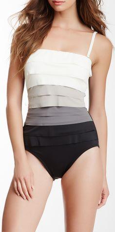 Gray scale ombre | one piece swim suit