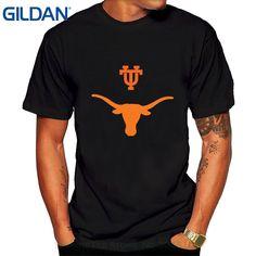 GILDAN Men T Shirt Print Cotton Short Sleeve T-shirt Men's Ut Austin Longhorn T Shirts Black