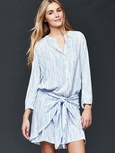 Wrap-tie stripe shirt dress