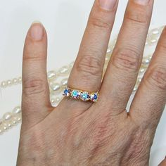 AB Crystal Ring White Bridal Adjustable Cocktail Ring Aurora