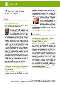 Startseite von Pfeffers PR-Newsletter Nr. 490 des PR-Journals (27. Oktober 2015) -  Stichworte: Uni Leipzig: Neuer Kommunikationsprofessor // ThyssenKrupp: Konzern im Umbruch // 2. DAPR-Masterstudium gestartet // Szyszka: Neues Beziehungskapital für VW notwendig // Studien: Neues von Edelman, WeberShandwick, Klenk & Hoursch und YouGov Brandindex