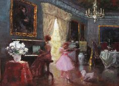Piano and Violin player - Painting by W.Maguetas