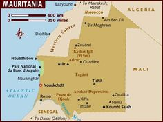 Map of Mauritania : officially the Islamic Republic of Mauritania, is a country in the Maghreb region of western North Africa, is bordered by the Atlantic Ocean in the west, by Moroccan-controlled Western Sahara in the north, by Algeria in the northeast, by Mali in the east and southeast, and by Senegal in the southwest.The capital and largest city is Nouakchott, located on the Atlantic coast.