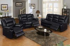 Modern Black Leather Reclining Sofa Loveseat Motion Couch Living Room