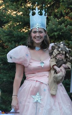 Wizard of Oz Glenda costume - thought it would be easy to make a pretty TALL crown like this with maybe a milk carton or other sheet of plastic, with strong velcro on back seem for keeping on.