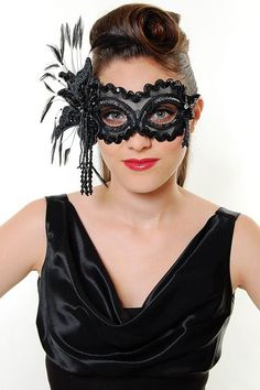 Model from Unique Vintage wearing the Midnight masquerade mask found in the Enchanted Evening collection http://www.gypsyrenaissance.com/mask-collections/enchanted-evening-masks/midnight-mask
