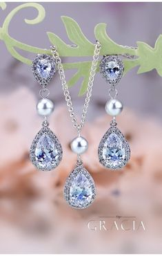 NATASA Crystal And Pearl Jewelry Set Gift Bridal Teardrop Earrings Necklace