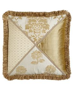 "H79VQ Austin Horn Classics Pieced Pillow with Loop Fringe, 20""Sq."