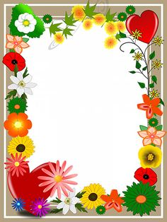 elegant-card-with-summer-flowers-and-hearts Frame Border Design, Boarder Designs, Page Borders Design, Photo Frame Wallpaper, Picture Borders, Printable Border, School Border, Boarders And Frames, School Frame