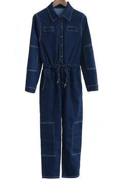 Deep Blue Denim Turn Down Collar Long Sleeve Jumpsuit