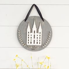LDS Temple Art, wood sign, cutouts, baltic birch sign, wood round, anniversary gift, wedding gift personalized, laser cut wedding,home decor by TheHandmadeSignCo on Etsy