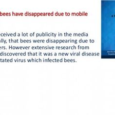 I heard that bees have disappeared due to mobile towers. This issue received a lot of publicity in the media internationally, that bees were disappearing du. http://slidehot.com/resources/i-heard-that-bees-have-disappeared-due-to-mobile-towers.65551/