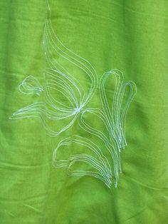 Tulipános női lenvászon ruha - zöld