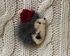 Felt brooch hedgehog Hedgehog wool New by YanaTeddyFeltedToys