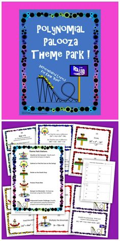 """It's the Polynomial Palooza Theme Park! These Polynomials Review Stations are a great way for students to practice Classifying polynomials, Combining like terms, Exponent Rules, Add/Subtract/Multiply/Divide Polynomials, FOIL, Simplify using the Distributive Property. Each station, or """"ride"""", is a separate topic. 4 cards per ride (24 total cards.) Each group of 4 becomes progressively more difficult. Common Core Standards A-APR.1 and 8.EE.1."""