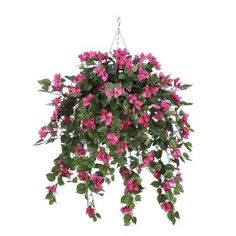 House of Silk Flowers Artificial Mini Bougainvillea Hanging Plant in Beehive Basket
