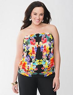 Lush floral tube top is a stunningly-feminine look for the season! Worn with or without the optional straps, this versatile piece flatters curves with a banded bottom and forgiving blouson silhouette. In a soft, breathable knit, this is your go-to top for warm weather style.