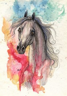 grey arabian horse with fantasy background ink and by AngelHorses