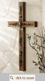 Old Wood Cross w/ Barbed Wire