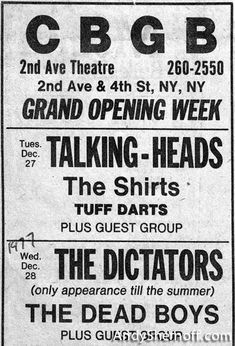 CBGB newspaper advertisement with Talking Heads, The Dictators, Dead Boys Punk Rock, Punk Poster, Film Poster, Rock Band Posters, New Wave Music, 70s Punk, Music Film, Indie Music, Music Icon
