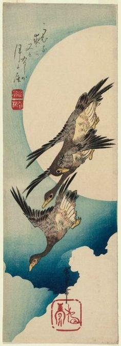 Geese Flying across Full Moon  Japanese  early 1830s   Utagawa Hiroshige I Kawaguchiya Shôzô (Shôeidô, Eisendô)