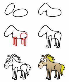 How to draw a cartoon horse (or zebra)