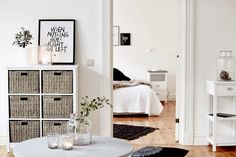 A white and grey Swedish home with touches of Christmas