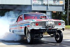 "Tommy Killingsworth Shares His 1963 Ford Fairlane, ""Miss Fitt"", With a ""Blown and injected small block Ford on methanol. 408ci, 8-71 Mooneyham blower, Mallory Super Mag magneto ignition. Altered wheelbase, straight axle, mid-sixties a/fx, gasser,..."