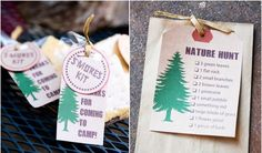camping and nature themed  birthday party scavenger hunt printables and smores favors