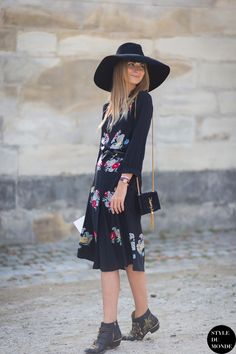 Maria Kolosova in floral dress, Chloe booties and Yves Saint Laurent Monogramme bag