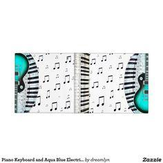 Piano Keyboard and Aqua Blue Electric Guitar
