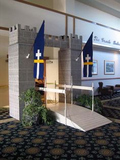 Castle Entrance Theme Prop by The Prop Factory, via Flickr - kingdom rock vbs.  Colleen, this would be cool to do OUTSIDE the door of the church!