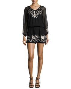 T9E4D Joie Avanta Embroidered-Trim Silk Dress