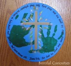 "A variation on this with the blue printed circle and no cross could work well with little hands--Using this Easter 2013:  printed words (circle) on 12""X12"" cardstock to get a larger circle for both hands to fit."