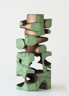 Untitled (2013) by American artist Mel Kendrick (b.1949). Walnut with Japan color, W 4.5 x H 13.5 in.