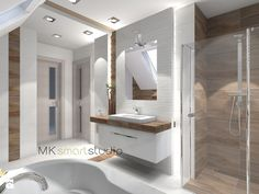 Łazienka w stylu skandynawskim - projekt - Duża łazienka na poddaszu w domu jednorodzinnym jako salon kąpielowy z oknem, styl skandynawski - zdjęcie od MKsmartstudio
