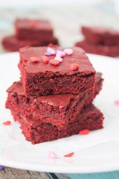 Red Velvet Brownie Bites - Homemade soft and chewy red velvet brownie bites that are sinfully fudgy