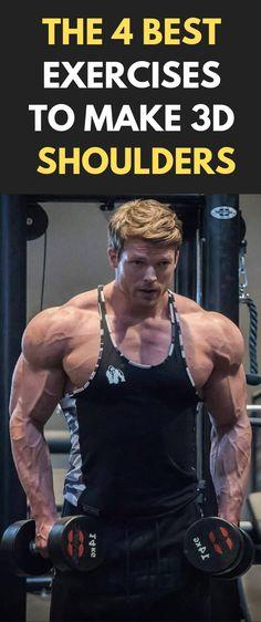The 4 Best Exercises To Make 3D Shoulders Article #fitness #bodybuilding #gym #Shoulders #workout Planet Fitness Workout, Muscle Fitness, Gain Muscle, Fitness Tips, Fitness Websites, Fitness Motivation, Mens Fitness, Shoulder Workout Bodybuilding, Bodybuilding Workouts