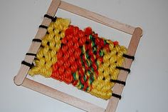 Our Creative Day: Mini-Weaving Loom (made with popsicle sticks) Popsicle Stick Crafts, Popsicle Sticks, Craft Stick Crafts, Crafts For Girls, Arts And Crafts, Kids Crafts, Weaving Projects, Art Projects, Crafty Projects