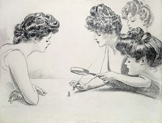 Gibson Girls Magnifying Glass by Charles Dana Gibson - Gibson Girl – Wikipédia, a enciclopédia livre