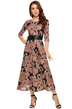 fe7d37b5304 OD lover Women s Printed 3 4 Sleeve Wrap Waist Tie Long Maxi Dress at Amazon  Women s Clothing store