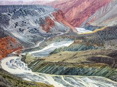 Picture of the colorful canyons of the Tian Shan mountain range in China