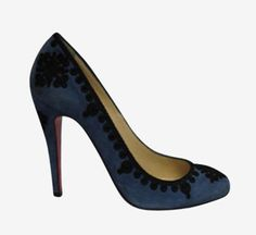 Christian Louboutin Navy Blue Suede Embroidered Pump (=)