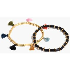MADEWELL Two-Pack Bead and Tassel Bracelets (1,560 INR) ❤ liked on Polyvore featuring jewelry, bracelets, true black, madewell jewelry, wooden beads jewellery, evening jewelry, wood jewelry and special occasion jewelry