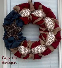 Burlap Wreath - 4th of July - White Chevron, Red, Natural and Blue Burlap - PatrioFourth of July  - Burlap Wreath Decor - Door Wreath - by DallyUpBoutique on Etsy https://www.etsy.com/listing/187886613/burlap-wreath-4th-of-july-white-chevron