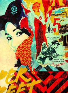 """Juxtapoz Magazine - Shepard Fairey's Massive """"Damaged"""" Exhibition in Los Angeles Art Obey, Illustrations, Illustration Art, Shepard Fairey Art, Pop Art, Protest Art, Political Art, A Level Art, Arte Pop"""