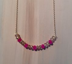 Simply beautiful long deep pink ruby and champagne by lovebylara, $30.00