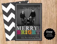 Chalkboard Merry & Bright Digital Personalized Photo Christmas Card . Holiday Card . JPEG or PDF . Digital File  .  FREE Matching Side by MoonshyneDesigns on Etsy https://www.etsy.com/listing/163691396/chalkboard-merry-bright-digital