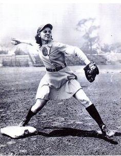 """She throws like a girl..."" Sophie  Kurys, Racine Belles, All-American Girls Professional Baseball League"