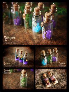 Small glass vials by LuthienSecrets.deviantart.com on @deviantART